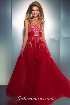Fashion Sweetheart High Low Red Tulle Beaded Sequin Prom Dress