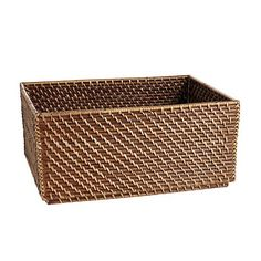 """Piper Woven Stackable Basket. Overall: 6 1/2""""H X 13 3/4""""W X 9 3/4""""D w/5 1/2""""H Interior"""