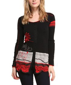 Look at this Black & Red 'Why?' Cardigan on #zulily today!
