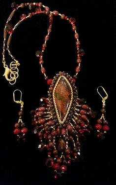 Fringed Necklace of Brecciated Red Jasper and Czech Glass