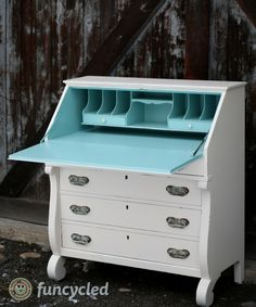 Cream and Aqua Desk by FunCycled www.funcycled.com