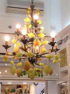 Beautiful lemons chandelier, made of Murano glass. Sorrento, famous for its lemons. May, 2014.