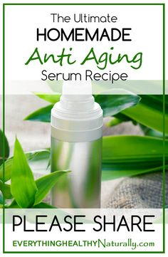 The Ultimate Homemade Anti Aging Serum Recipe: 3t Avocado Oil, 1t Vit E oil or 3 Vitamin E Gel Caplets (Natural preservative!) 1t Rosehip Seed Oil, 3 drops Carrot Seed Oil, 3 Drops Frankincense Essential Oil, 5 drops Geranium Essential Oil Mix everything together and put in a dark airtight container, preferably a glass container with a dropper for easy use), and shake well. Keep in a cool, dry place for a week for all the ingredients to mix well and apply everyday before bed.