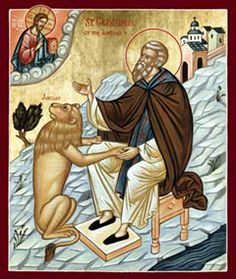Gerasimus of Jordan Orthodox Icon Catholic Saints, Patron Saints, Religious Icons, Religious Art, St Jerome, Age, Orthodox Christianity, Greek Art, The Monks