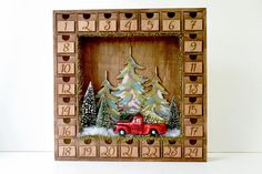 Wooden Christmas Advent Calendar with Numbered Boxes | Christmas Tree Farm | Mercury Glass Vintage Red Truck