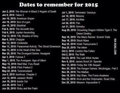 Movies coming for 2015.