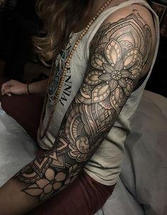 mandala tattoo on sleeve