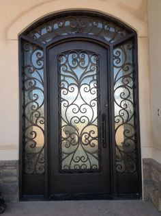 Wrought Iron Door Design, Pictures, Remodel, Decor and Ideas Iron Front Door, House Front Door, House Doors, Iron Doors, Metal Doors, Entry Door With Sidelights, Main Entrance Door, Entry Doors, Wrought Iron Decor