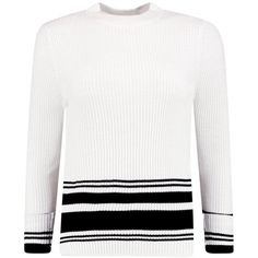 Boohoo Layla Monochrome Stripe Jumper | Boohoo (£21) ❤ liked on Polyvore featuring tops, sweaters, striped sweater, stripe top, boohoo jumpers, white striped sweater and white sweater