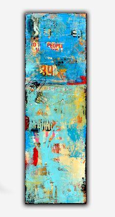 Mixed media Abstract Painting on wood 12x36 by erinashleyart