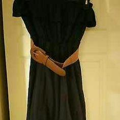 Dress dark blue soft country style lovely medium Never worn country blue hi low dress medium . Dresses Asymmetrical