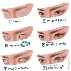 Digital Painting Tutorials, Digital Art Tutorial, Art Tutorials, How To Paint Eyes, How To Draw Glasses, Digital Art Beginner, Human Anatomy Art, Skin Drawing, Design Basics