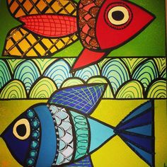 One Fish: 20x24 Original Painting from Twiggy Originals for $195.00 on Square Market One Fish, Twiggy, Original Paintings, Doodles, The Originals, Drawings, Design, Sketches, Draw