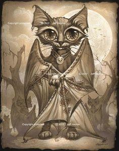 Bat Cat // 11x14 Print // Halloween Cat // CAT Wall Decor //