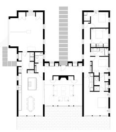 Dream House v. 2.0 updated and modified four (4) bedroom plan showing the extended kitchen and dining room configuration that opens up to the living room via a large sliding door. Perfect for families who entertain, this allows everyone in the public areas of the house to be all together when needed; this is included in the plan set.