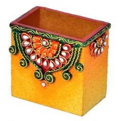 Looking for Decorative Kundan Meenakari Wooden Pen Stand Buy it at from Rediff Shopping today! for Decorative Kundan Meenakari Wooden Pen Stand 252 & other Gifts. Vase Crafts, Diy Resin Crafts, Crafts To Sell, Origami Pencil Holder, Janmashtami Decoration, Diwali Diy, Diwali Gifts, Diy Diwali Decorations, Painted Glass Vases