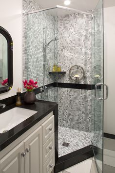 Glass shower doors are huge right now! #BathroomMakeover