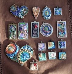 Jael's Art Jewels Blog: Clay Doodling away - using little frames is a great way to turn them into necklaces.