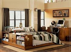 Teen Bedroom, : Wonderful Wooden Bed Frame With Built In Bookshelf For Teen Boy  Bedroom Decorating Ideas Also Cool Emblem Board And Beige Wall Painted