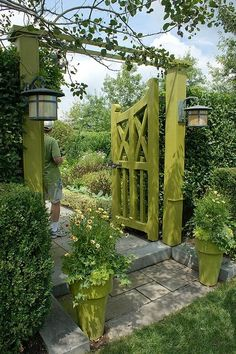 Lovely doors, green is refreshing. Bucks County Garden Very #cute entrance. http://patiodesign-ideas.net/
