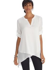 White House | Black Market Long Sleeve Asymmetrical Henley Tunic Top #whbm