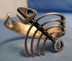 Vintage Los Castillo Taxco Mexico Sterling Silver Bracelet Fish Bone Design   eBay