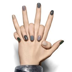 march on by essie - this camouflage-ready miltary-inspired manicure marches from opulent dark green to soft sandy beige without missing a step.