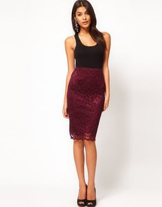 Asos Collection  Pencil Skirt in Lace with Scallop Hem in Maroon