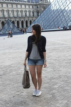 C B C M G: Des petits pois... - Mango cardigan - H grey tshirt and denim shorts - Glitter Converse - Vanessa Bruno bag