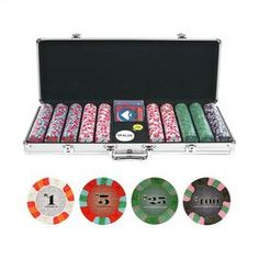 """Set of 500 Las Vegas-style poker chips with a dealer button and pack of playing cards in a silver-finished case.    Product: Set of 500 poker chips with case Construction Material: Aluminum Color: Silver and multi   Features:  9 Gram Las Vegas style poker chips   Dealer button   Big blind and little blindDeck of cardsIncludes: (200) - $1 Chips, (150) - $5 chips, (100) - $25 chips, (50) - $100 chips       Dimensions: 4"""" H x 22"""" W x 10"""" D"""
