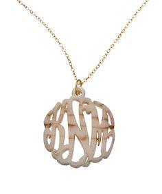 Shell Acrylic Script Cutout 1 1/4 Inch Monogram Necklace