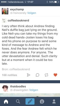 What i wouldn't give for those chapters in Andrew's pov
