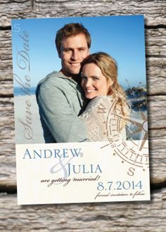 ANTIQUE COMPASS Wedding Save the Date You par PaperHeartCompany, $16.00