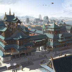 fantasy ancient chinese architecture coastal asian landscapes landscape architectures artwork setting