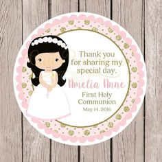 Girls First Holy Communion Favor Tags or Stickers by ciaobambino