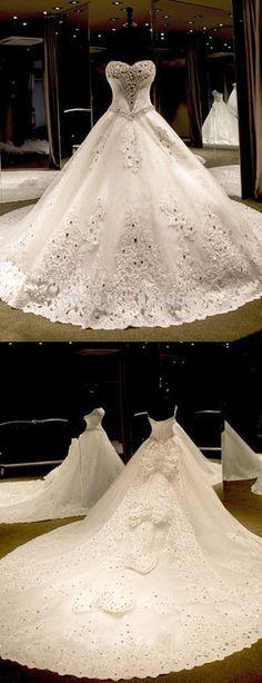 Ballkleid Herzausschnitt Kathedrale Schleppe Tüll Pailletten Brautkleid mit Spitze Schleife
