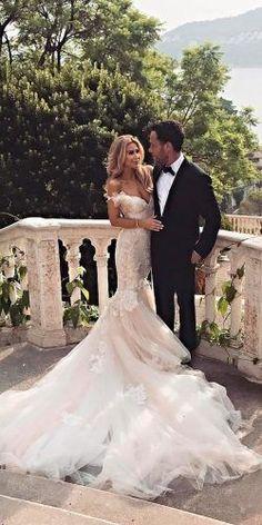 mermaid off the shoulder wedding dresses lace rustic galia lahav