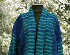 Handwoven Ladies Coat  in blue and green OOAK by Akkord on Etsy