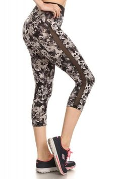 ff6de6e56f459 ShoSport Activewear Black / Grey Camo Print Capri Mesh Panels High Waist  Band Four Way Stretch