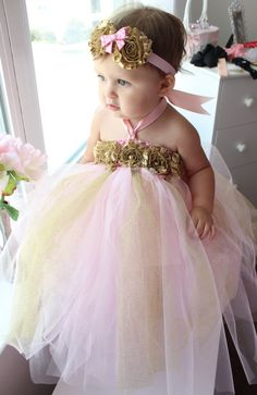 6a09c4060d067 Gorgeous Pink and Gold Tutu Dress Shabby Chic Flower Tutu Dress for Baby  Girl 6-18 Months First Birthday Pageant Dress