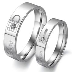 """Titanium Stainless Steel Lock and Key Wedding Ring Promise Ring Couple Wedding Band with Engraved """"Love"""" Rhinestone Inlay (Available Sizes: Him 6,7,8,9,10,11,12"""