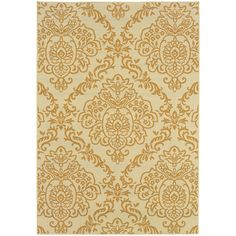 This majestic indoor/outdoor area rug is just the thing to make your home more beautiful. It features an elegant gold pattern against an ivory background and together, the hues offer a lovely outcome. The textile is also made from durable materials.