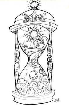 Hourglass small art print day in the night, night in the day. Tijd i . - Hourglass small art print Day in the night, night in the day. Tijd is relieved. I think - Adult Coloring Book Pages, Coloring Books, Colouring Pages For Adults, Art Sketches, Art Drawings, Drawing Designs, Tattoo Design Drawings, Colorful Drawings, Drawings About Love