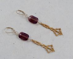 SEC 3-5-17 B'sue vintage golden drops. Swarovski amethyst stones and 14kt goldfilled wire and hooks.