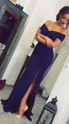 9530ab4207c Robe de soirée longue bleu marine à manches courtes et sirène Robes De Bal  De Promo