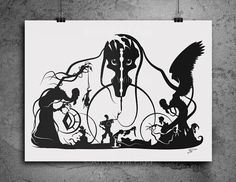 """Screen Print of the Tale of Three Brothers shadow paper cut signed 12""""x18"""" on French Sweet Tooth 100lb paper using black metallic ink"""