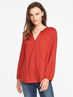 Relaxed Shirred Split-Neck Blouse for Women