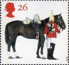 'All The Queens Horses'. 50th Anniversary of the British Horse Society 26p Stamp (1997) Lifeguards Horse and Trooper