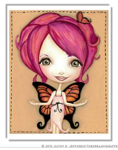 Butterfly Fairy Print. Big Eyed Art. Hot Pink And Orange Nursery Art. Little Girls Butterfly Room Decor. Cute Artwork. Fantasy Ilustration.