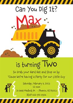 Construction Truck Birthday Party Invitation for kids. $15.00, via Etsy.